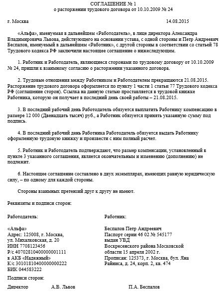 Трудовой договор прекращён по соглашению сторон документы для кредита Николоворобинский Большой переулок